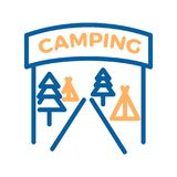 Camping entrance vector thin line icon illustration. Camping site with pine trees, tents and welcome sign royalty free illustration