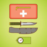 Camping equipment. First aid kit, knife and cover, compass. Royalty Free Stock Images