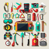 Camping equipment. Flat design. Royalty Free Stock Photos