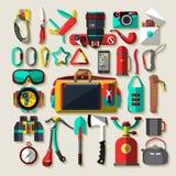 Camping equipment. Flat design. Royalty Free Stock Photos