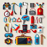 Camping equipment. Flat design. Stock Image