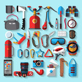 Camping equipment. Flat design. Stock Photos