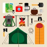 Camping equipment icons Royalty Free Stock Images