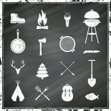 Camping Equipment Icons Stock Images