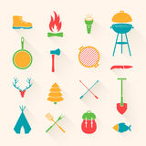 Camping Equipment Icons Stock Photo