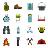 Camping equipment icons set, flat style Royalty Free Stock Images