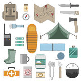 Camping equipment icons set. Set of camping equipment icons. Outdoor recreation. Hiking, camping Stock Photo