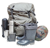 Camping equipment isolated on white background Stock Photos