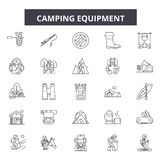Camping equipment line icons, signs, vector set, outline illustration concept vector illustration