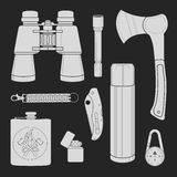 Camping equipment set.  Stock Image