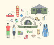 Camping equipment set circle infographics template concept. Icons design for your product or design, web and mobile Royalty Free Stock Photo