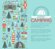 Camping equipment set circle infographics template concept. Icons design for your product or design, web and mobile Stock Photo