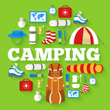 Camping equipment set circle infographics template concept. Icons design for your product or design, web and mobile Stock Image