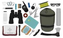 Camping equipment set. Color. Set of survival camping equipment:. Color vector illustrations Stock Photo