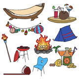 Camping equipment. Set of hand drawn camping items Stock Image