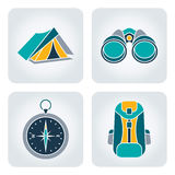 Camping equipment. Set of 4 icons with camping equipment: tent, compass, binocular, backpack royalty free illustration