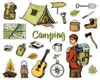 Camping equipment set, outdoor adventure, hiking. Traveling man with luggage. tourism trip. engraved hand drawn  old Stock Photos