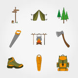 Camping equipment symbols and icons set. For web and mobile application. Vector illustration on a white background. Doodle, cartoon style Stock Image