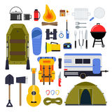 Camping equipment for travel. Hiking accessories vector icon set in flat style. Guitar and boat, trailer and flashlight, tourism travel adventure, equipment Stock Photo