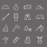 Camping equipment and travel icons set Royalty Free Stock Photography