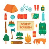 Camping equipment, vector icons. Camping equipment, forest tourism, vector colorful icons set in flat style Royalty Free Stock Image
