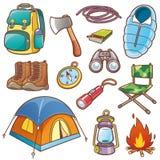 Camping equipment. Vector illustration of Cartoon Camping equipment set stock illustration