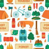 Camping equipment, vector seamless pattern. Camping equipment, forest tourism, vector colorful  seamless pattern in flat style Royalty Free Stock Images