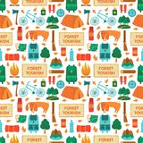 Camping equipment, vector seamless pattern. Camping equipment, forest tourism, vector colorful  seamless pattern in flat style Royalty Free Stock Photo