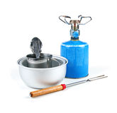 Camping equipment  on white Royalty Free Stock Photo