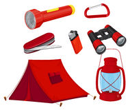 Camping equipments in red color Royalty Free Stock Photos