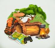 Camping et vecteur de temps d'aventure illustration libre de droits