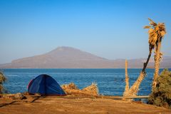 Camping in Ethiopia. Camping at the Afrera lakeshore, Danakil Depression, Ethiopia stock image