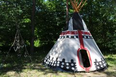 Camping in ethno style. Indian wigwam. royalty free stock images