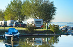 Camping in Europe. Beautiful view on camping site in the morning light. Italy stock image