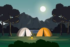 Camping Evening Scene with Mountain and Lake Landscape. Summer Camp in Evening Scene with Lake and Mountain Landscape, Lakeside View with Shrubs, Moonlight vector illustration