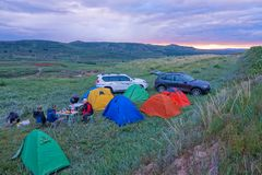 Camping in the evening. The tourists are camping in Guancen Mountain in Shanxi, China royalty free stock photos