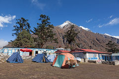 Camping with Everest in the background. Trekking from Deboche to Khumjung Nepal Sagamatha National Park Royalty Free Stock Photos