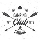 Camping extreme adventure . Vector illustration. Camping club. Canada. Vector illustration. Concept for shirt or logo, print, stamp or tee. Vintage typography Royalty Free Stock Photos