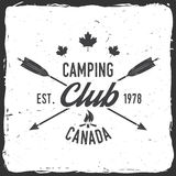 Camping extreme adventure . Vector illustration. Camping club. Canada. Vector illustration. Concept for shirt or logo, print, stamp or tee. Vintage typography Stock Photography