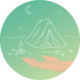 Camping. Extreme sport tent. Hand Draw. Vector illustration Stock Images