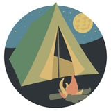 Camping. Extreme sport tent. Vector illustration Stock Photography