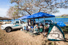 Camping Families Holiday Dam Royalty Free Stock Photo