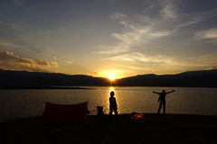 Camping Family Sunset Royalty Free Stock Image