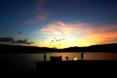 Camping family  at sunset Royalty Free Stock Photo