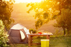 Camping family table. On vacation royalty free stock images