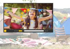 Camping festival fun video player App Interface Royalty Free Stock Photo