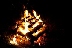 Camping fire Stock Image