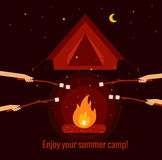 Camping fire background. Flat illustration.  vector symbols. Vector illustration of night campfire, tent, marshmallow. Campfire background for summer camp Stock Photos