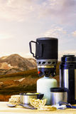 Camping fire equipment in the mountains. Royalty Free Stock Image