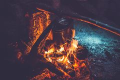Camping fire in the forest royalty free stock photos
